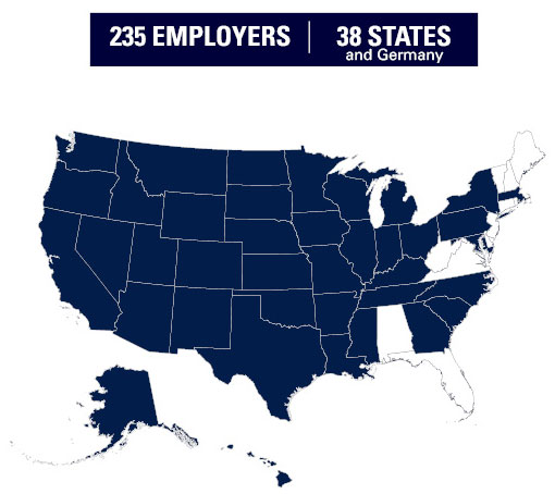 South Dakota Mines Graduate Employers Map By State