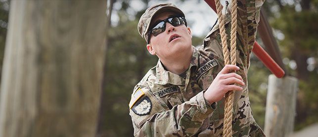 Military Science ROTC Man in Sunglasses with Rope