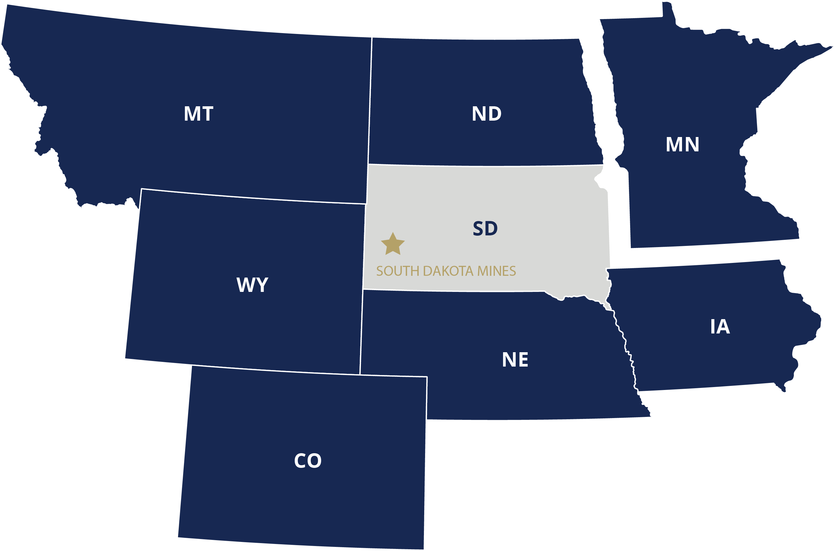 South Dakota Advantage States Map